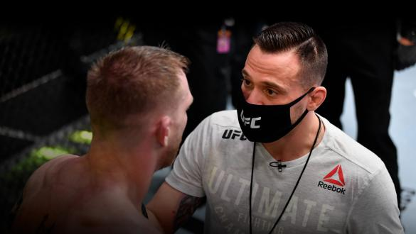 Coach James Krause provides instruction to Kevin Croom in the corner between rounds of his featherweight bout against Alex Caceres during the UFC Fight Night event at UFC APEX on February 27, 2021 in Las Vegas, Nevada. (Photo by Jeff Bottari/Zuffa LLC)