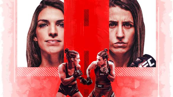 Mackenzie Dern and Marina Rodriguez facing off on a red background