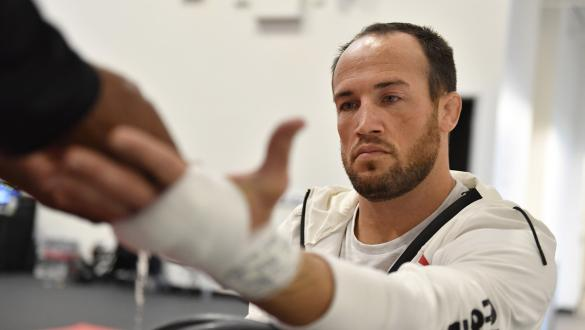 Damon Jackson has his hands wrapped prior to his fight during the UFC Fight Night event at UFC APEX on December 05, 2020 in Las Vegas, Nevada. (Photo by Chris Unger/Zuffa LLC)
