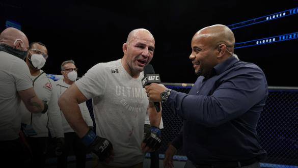 Glover Teixeira of Brazil celebrates his victory over Anthony Smith in their light heavyweight bout during the UFC Fight Night Event at VyStar Veterans Memorial Arena on May 13, 2020 in Jacksonville, Florida. (Photo by Cooper Neill/Zuffa LLC via Getty Images)