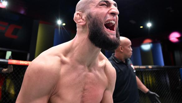 Khamzat Chimaev of Chechnya celebrates after his knockout victory over Gerald Meerschaert in their middleweight bout during the UFC Fight Night event at UFC APEX on September 19 2020 in Las Vegas Nevada. (Photo by Chris Unger/Zuffa LLC)
