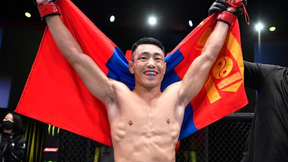 Danaa Batgerel of Mongolia reacts after his TKO victory over Brandon Davis in a bantamweight fight during the UFC Fight Night event at UFC APEX on October 16, 2021 in Las Vegas, Nevada. (Photo by Chris Unger/Zuffa LLC)