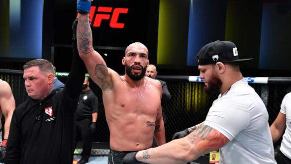 Bruno Silva of Brazil reacts after his TKO victory over Andrew Sanchez in a middleweight fight during the UFC Fight Night event at UFC APEX on October 16 2021 in Las Vegas Nevada. (Photo by Chris Unger/Zuffa LLC)