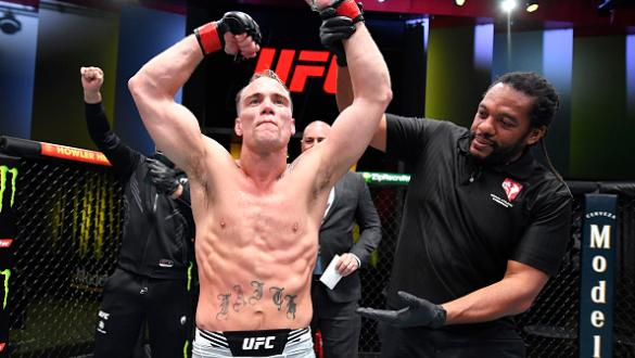 Nate Landwehr reacts after his victory over Ludovit Klein of Slovakia in a featherweight fight during the UFC Fight Night event at UFC APEX on October 16 2021 in Las Vegas Nevada. (Photo by Chris Unger/Zuffa LLC)