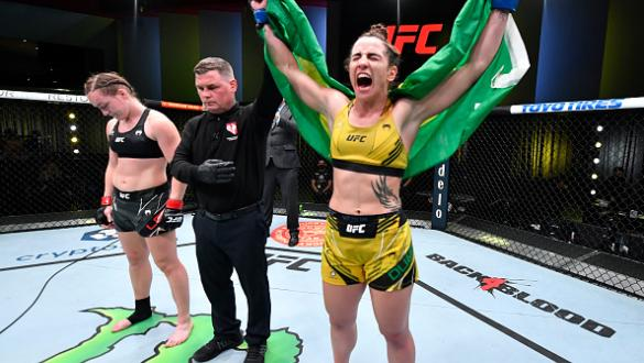 Norma Dumont of Brazil reacts after her victory over Aspen Ladd in a featherweight fight during the UFC Fight Night event at UFC APEX on October 16 2021 in Las Vegas Nevada. (Photo by Chris Unger/Zuffa LLC)
