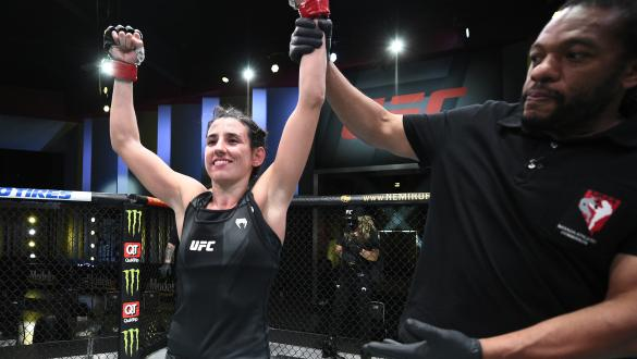 LAS VEGAS, NEVADA - MAY 08: Marina Rodriguez of Brazil reacts after her victory over Michelle Waterson in a flyweight fight during the UFC Fight Night event