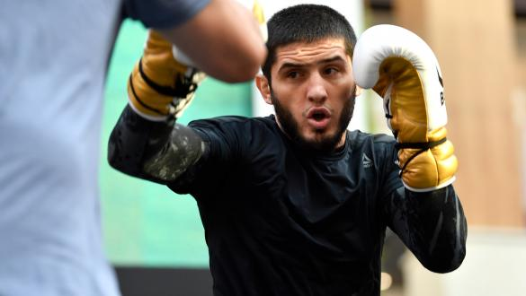 Islam Makhachev of Russia holds an open training session for fans and media at Yas Mall on September 4, 2019 in Abu Dhabi, United Arab Emirates. (Photo by Jeff Bottari/Zuffa LLC/Zuffa LLC via Getty Images)