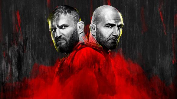 UFC 267 Red and Black Poster with Jan Blachowicz and Glover Teixeira