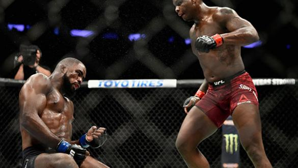 NEW YORK, NY - NOVEMBER 04: Ovince Saint Preux knocks out Corey Anderson in their light heavyweight bout during the UFC 217 event at Madison Square Garden on November 4, 2017 in New York City.  (Photo by Jeff Bottari/Zuffa LLC)