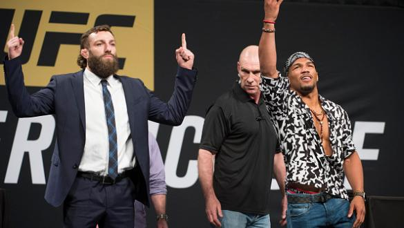 DALLAS, TX - MAY 12: Michael Chiesa faces off with Kevin Lee during the UFC Summer Kickoff Press Conference at the American Airlines Center on May 12, 2017 in Dallas, Texas. (Photo by Cooper Neill/Zuffa LLC/Zuffa LLC via Getty Images)