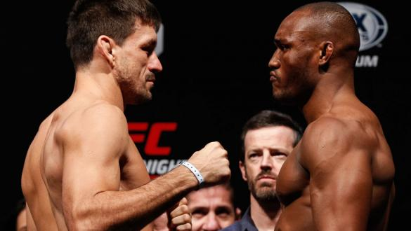 SANTIAGO, CHILE - MAY 18: Demian Maia (L) of Brazil and Kamaru Usman of Nigeria face off during during the UFC Fight Night weigh-in at Movistar Arena on May 18, 2018 in Santiago, Chile. (Photo by Buda Mendes/Zuffa LLC/Zuffa LLC via Getty Images)