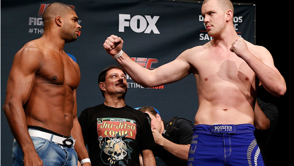 PHOENIX, AZ - DECEMBER 12: (L-R) Opponents Alistair Overeem of the Netherlands and Stefan Struve of the Netherlands face off during the UFC Fight Night weigh-in event at the Phoenix Convention Center on December 12, 2014 in Phoenix, Arizona. (Photo by Jos