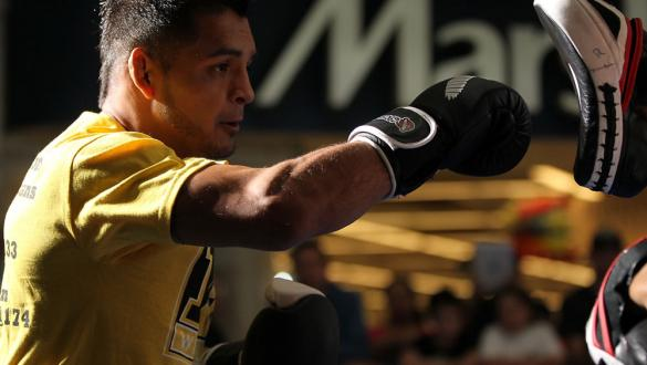 SUNRISE, FL - JUNE 06:   Leonard Garcia works out for fans and media during the UFC open workouts at Sawgrass Mills Mall on June 6, 2012 in Sunrise, Florida.  (Photo by Josh Hedges/Zuffa LLC/Zuffa LLC via Getty Images)