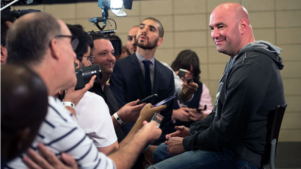 HOUSTON, TX - OCTOBER 16:  UFC President Dana White speaks with the media during the UFC 166 Ultimate Media Day at the Toyota Center on October 16, 2013 in Houston, Texas. (Photo by Jeff Bottari/Zuffa LLC/Zuffa LLC via Getty Images) *** Local Caption ***