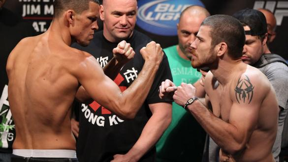 EAST RUTHERFORD, NJ - MAY 04:  (L-R) Main event opponents Nate Diaz and Jim Miller face off aftering weighing in during the UFC on FOX official weigh in at Izod Center on May 4, 2012 in East Rutherford, New Jersey.  (Photo by Josh Hedges/Zuffa LLC/Zuffa L