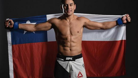 LAS VEGAS, NV - FEBRUARY 06:  Diego Rivas of Chile poses for a portrait backstage after his knockout victory over Noad Lahat of Israel during the UFC Fight Night event at MGM Grand Garden Arena on February 6, 2016 in Las Vegas, Nevada.  (Photo by Mike Roa