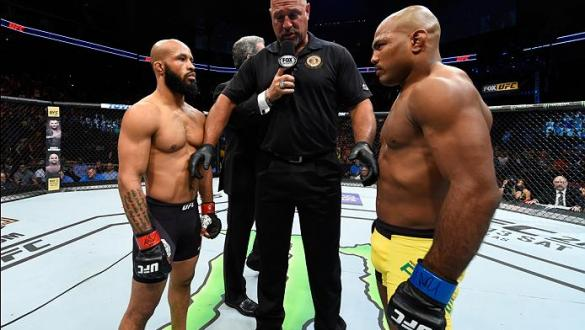 KANSAS CITY, MO - APRIL 15:  (L-R) Demetrious Johnson and Wilson Reis of Brazil face off in their UFC flyweight fight during the UFC Fight Night event at Sprint Center on April 15, 2017 in Kansas City, Missouri. (Photo by Josh Hedges/Zuffa LLC/Zuffa LLC v