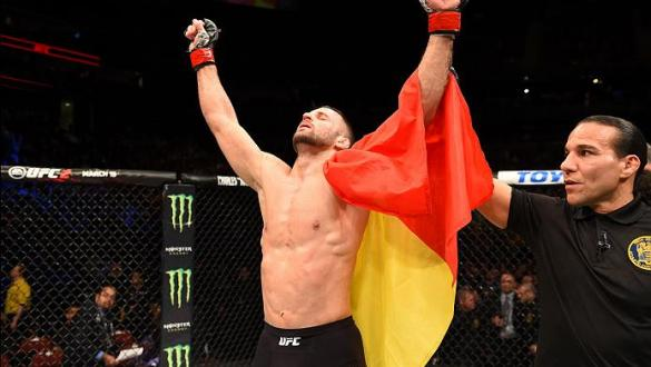 NEWARK, NJ - JANUARY 30:  Tarec Saffiedine celebrates his victory over Jake Ellenberger in their welterweight bout during the UFC Fight Night event at the Prudential Center on January 30, 2016 in Newark, New Jersey. (Photo by Josh Hedges/Zuffa LLC/Zuffa L