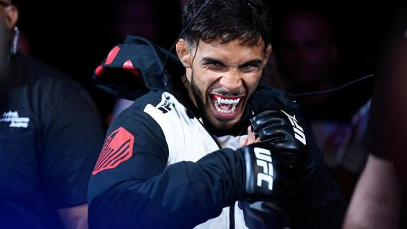 SALT LAKE CITY, UT - AUGUST 06:  Dennis Bermudez prepares to enter the octagon before facing Rony Jason of Brazil in their featherweight bout during the UFC Fight Night event at Vivint Smart Home Arena on August 6, 2016 in Salt Lake City, Utah. (Photo by