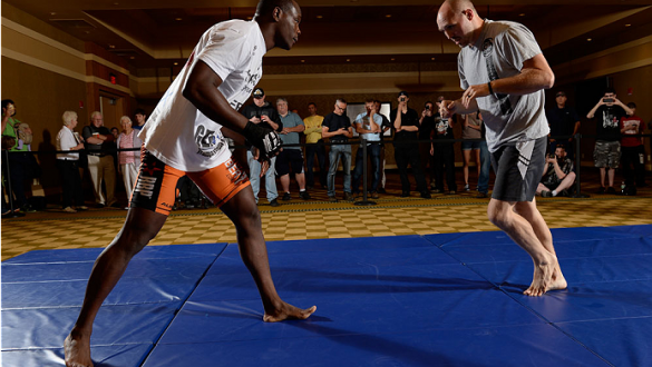 BANGOR, ME - AUG 14:   Ovince Saint Preux (L) holds an open training session for the media and fans at the Cross Insurance Center on August 14, 2014 in Bangor, Maine. (Photo by Jeff Bottari/Zuffa LLC/Zuffa LLC via Getty Images) *** Local Caption ***Ovince