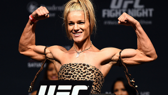 NEWARK, NJ - APRIL 17:  Felice Herrig steps on the scale during the UFC Fight Night weigh-in event at the Prudential Center on April 17, 2015 in Newark, New Jersey. (Photo by Jeff Bottari/Zuffa LLC/Zuffa LLC via Getty Images)