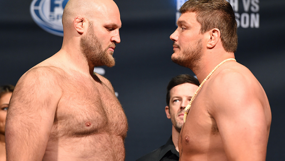 NEW ORLEANS, LA - JUNE 05:  (L-R) Opponents Ben Rothwell and Matt Mitrione face off during the UFC weigh-in at the Smoothie King Center on June 5, 2015 in New Orleans, Louisiana. (Photo by Josh Hedges/Zuffa LLC/Zuffa LLC via Getty Images)