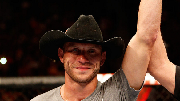 "ORLANDO, FL - APRIL 19:  Donald ""Cowboy"" Cerrone reacts after his submission victory over Edson Barboza in their lightweight bout during the FOX UFC Saturday event at the Amway Center on April 19, 2014 in Orlando, Florida. (Photo by Josh Hedges/Zuffa LLC/"