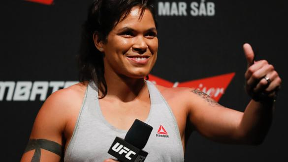 FORTALEZA, BRAZIL - MARCH 10:  UFC bantamweight champion Amanda Nunes interacts with fans during a Q&A session before the UFC Fight Night weigh-in at CFO � Centro de Forma�o Olmpica on March 10, 2017 in Fortaleza, Brazil. (Photo by Buda Mendes/Zuffa LLC/Z