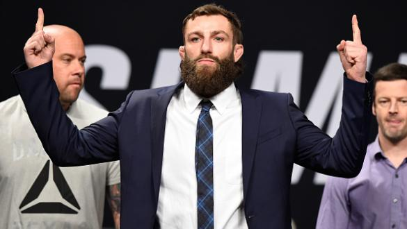 DALLAS, TX - MAY 12:  Michael Chiesa poses for the fans and media during the UFC Summer Kickoff Press Conference at the American Airlines Center on May 12, 2017 in Dallas, Texas. (Photo by Josh Hedges/Zuffa LLC/Zuffa LLC via Getty Images)