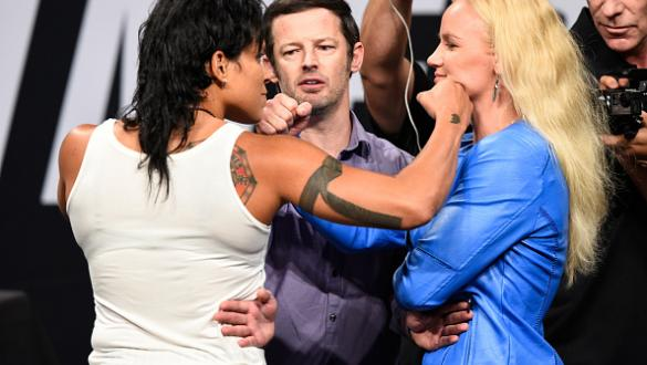 DALLAS, TX - MAY 12:  (L-R) UFC women's bantamweight champion Amanda Nunes of Brazil and Valentina Shevchenko of Kyrgyzstan face off during the UFC Summer Kickoff Press Conference at the American Airlines Center on May 12, 2017 in Dallas, Texas. (Photo by