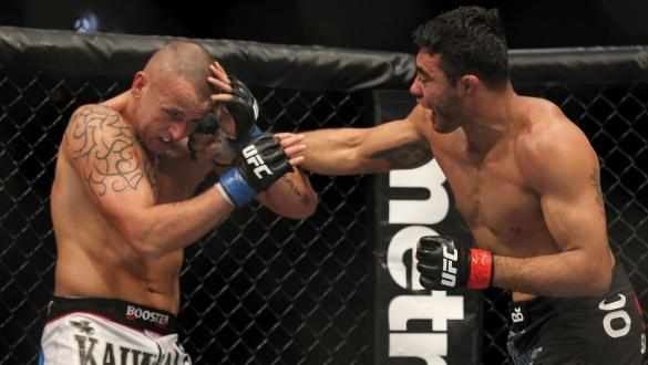 LAS VEGAS, NV - FEBRUARY 04:  Rafael Natal (right) punches Michael Kuiper during the UFC 143 event at Mandalay Bay Events Center on February 4, 2012 in Las Vegas, Nevada.  (Photo by Josh Hedges/Zuffa LLC/Zuffa LLC via Getty Images) *** Local Caption *** R