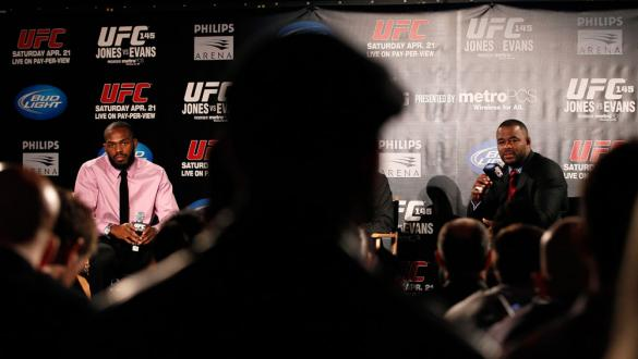 ATLANTA, GA - APRIL 18:  Jon Jones and Rashad Evans converse with the media during the press conference for the UFC 145 bout between Jones v Evans at Park Tavern on April 18, 2012 in Atlanta, Georgia.  (Photo by Kevin C. Cox/Zuffa LLC/Zuffa LLC via Getty