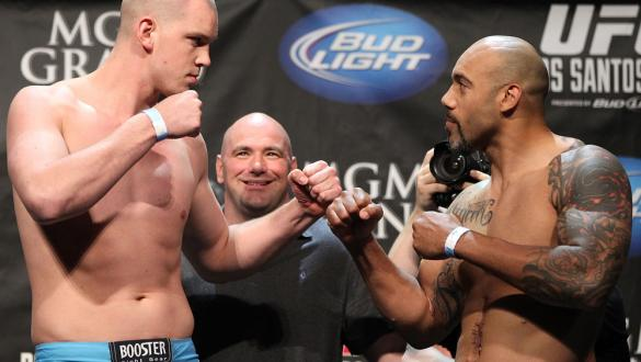 LAS VEGAS, NV - MAY 25:   (L-R) Opponents Stefan Struve and Lavar Johnson face off after making weight during the UFC 146 official weigh in at the MGM Grand Garden Arena on May 25, 2012 in Las Vegas, Nevada.  (Photo by Josh Hedges/Zuffa LLC/Zuffa LLC via