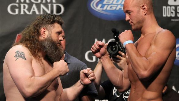 LAS VEGAS, NV - MAY 25:   (L-R) Opponents Roy Nelson and Dave Herman face off after making weight during the UFC 146 official weigh in at the MGM Grand Garden Arena on May 25, 2012 in Las Vegas, Nevada.  (Photo by Josh Hedges/Zuffa LLC/Zuffa LLC via Getty