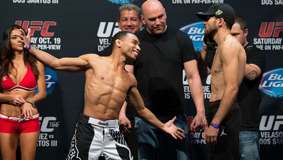 HOUSTON, TX - OCTOBER 18:  (L-R) John Dodson and Darrell Montage face off during the UFC 166 weigh-in at the Toyota Center on October 18, 2013 in Houston, Texas. (Photo by Jeff Bottari/Zuffa LLC/Zuffa LLC via Getty Images) *** Local Caption *** John Dodso