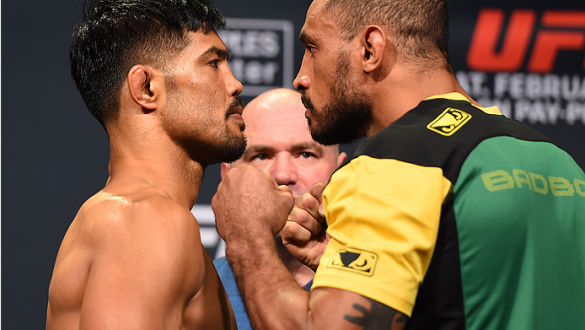 LOS ANGELES, CA - FEBRUARY 27:  (L-R) Opponents Mark Munoz and Roan Carneiro of Brazil face off during the UFC 184 weigh-in at the Event Deck and LA Live on February 27, 2015 in Los Angeles, California. (Photo by Josh Hedges/Zuffa LLC/Zuffa LLC via Getty