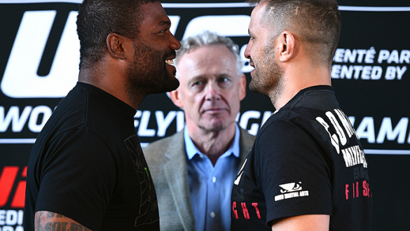 MONTREAL, QC - APRIL 23:  (L-R) Quinton 'Rampage' Jackson and Fabio Maldonado face off for the media during the UFC 186 Ultimate Media Day at Scena on April 23, 2015 in Montreal, Quebec, Canada. (Photo by Jeff Bottari/Zuffa LLC/Zuffa LLC via Getty Images)