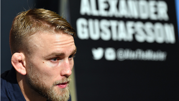 HOUSTON, TX - OCTOBER 01:  Alexander Gustafsson of Sweden interacts with media during the UFC 192 Ultimate Media Day at the Toyota Center on October 1, 2015 in Houston, Texas. (Photo by Josh Hedges/Zuffa LLC/Zuffa LLC via Getty Images)