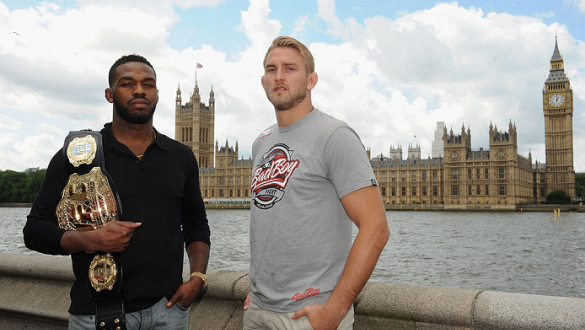 LONDON, ENGLAND - AUGUST 03:  Jon Jones (L) and Alex Gustafsson pose for the camera with the Houses of Parliament in the background during the Jon Jones and Alex Gustafsson Press Tour of London on August 3, 2013 in London, England.  (Photo by Christopher