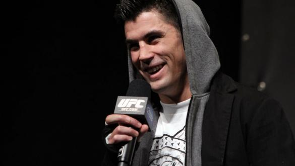 CHICAGO, IL - JANUARY 27:  UFC Bantamweight Champion Dominick Cruz interacts with fans during a Q&A session before the UFC on FOX official weigh in at the Chicago Theatre on January 27, 2012 in Chicago, Illinois.  (Photo by Josh Hedges/Zuffa LLC/Zuffa LLC