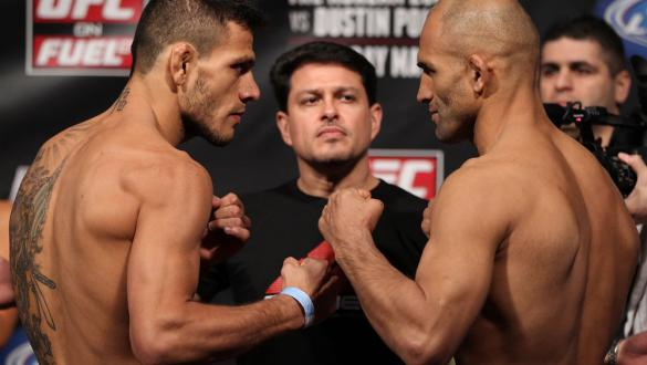 FAIRFAX, VA - MAY 14:  (L-R) Lightweight opponents Rafael Dos Anjos and Kamal Shalorus face off after weighing in during the UFC on Fuel TV official weigh in at Patriot Center on May 14, 2012 in Fairfax, Virginia.  (Photo by Josh Hedges/Zuffa LLC/Zuffa LL