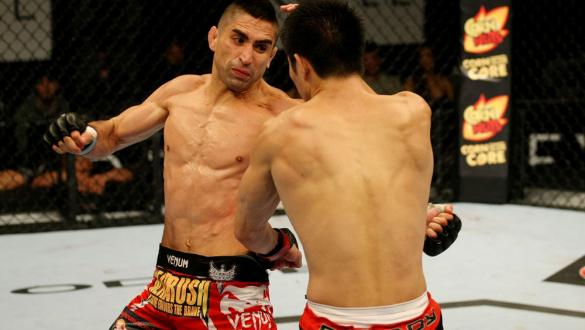 ATLANTIC CITY, NJ - JUNE 22: Ricardo Lamas (L) punches Hatsu Hioki (R) in a featherweight bout during UFC on FX 4 at Revel Casino on June 22, 2012 in Atlantic City, New Jersey.  (Photo by Nick Laham/Zuffa LLC/Zuffa LLC)