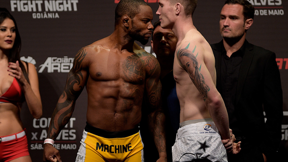 GOIANIA, BRAZIL - MAY 29: Welterweight fighters Wendell Oliveira of Brazil (L) and Darren Till of England face off during the UFC Fight Night Weigh-ins at Goiania Arena on May 29, 2015 in Goiania, Brazil. (Photo by Buda Mendes/Zuffa LLC/Zuffa LLC via Gett