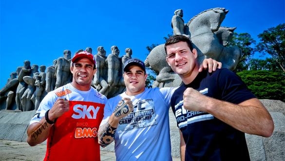 Três dos quatro lutadores que encabeçarão o UFC São Paulo; Vitor Belfort, Sarafian e Michael Bisping