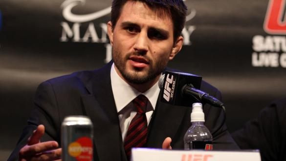 LAS VEGAS, NV - FEBRUARY 02:  Carlos Condit attends the UFC 143 final pre-fight press conference at the Mandalay Bay Hotel & Casino on February 2, 2012 in Las Vegas, United States.  (Photo by Josh Hedges/Zuffa LLC/Zuffa LLC via Getty Images) *** Local Cap