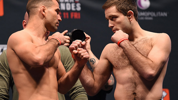 LAS VEGAS, NV - DECEMBER 10:  (L-R) Opponents Artem Lobov of Ireland and Ryan Hall during the UFC weigh-in inside MGM Grand Garden Arena on December 10, 2015 in Las Vegas, Nevada.  (Photo by Josh Hedges/Zuffa LLC/Zuffa LLC via Getty Images)