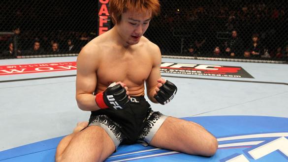 SAITAMA, JAPAN - FEBRUARY 26:  Takanori Gomi reacts after defeating Eiji Mitsuoka by TKO during the UFC 144 event at Saitama Super Arena on February 26, 2012 in Saitama, Japan.  (Photo by Al Bello/Zuffa LLC/Zuffa LLC via Getty Images) *** Local Caption **