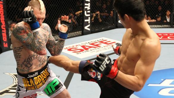 SAITAMA, JAPAN - FEBRUARY 26:  (R-L) Hatsu Hioki kicks Bart Palaszewski during the UFC 144 event at Saitama Super Arena on February 26, 2012 in Saitama, Japan.  (Photo by Al Bello/Zuffa LLC/Zuffa LLC via Getty Images) *** Local Caption *** Hatsu Hioki; Ba