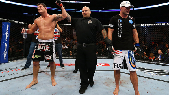 TORONTO, CANADA - SEPTEMBER 22: Michael Bisping (L) reacts after defeating Brian Stann (R) during their middleweight bout at UFC 152 inside Air Canada Centre on September 22, 2012 in Toronto, Ontario, Canada. (Photo by Al Bello/Zuffa LLC/Zuffa LLC via Get