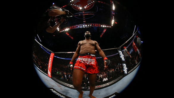 Jon Jones stands inside during his light heavyweight championship bout against Vitor Belfort at UFC 152 inside Air Canada Centre on September 22, 2012 in Toronto, Ontario, Canada. (Photo by Al Bello/Zuffa LLC/Zuffa LLC via Getty Images)